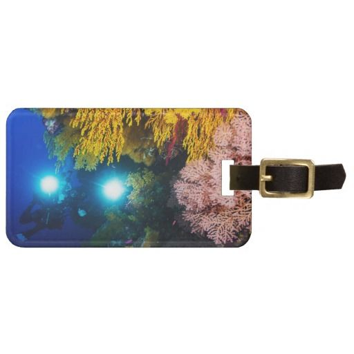 Awesome luggage tag featuring a diver with dual lights filming the colorful soft coral on Australia's Great Barrier reef. #fish #coral #tropicalfish #reef #scuba #animals #marine #australia #luggage #greatbarrierreef