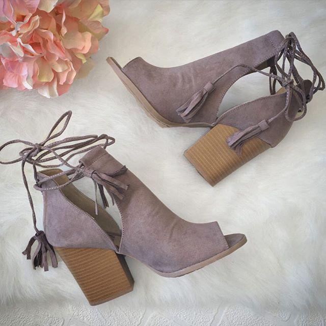 just a few things we love…lace-up booties & Fridays! Stacked Bootie Heels In Taupe www.DaintyHooligan.com