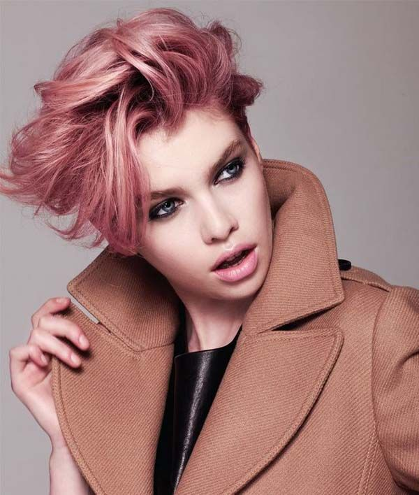 How to get a peachy pink pastel pixie cut