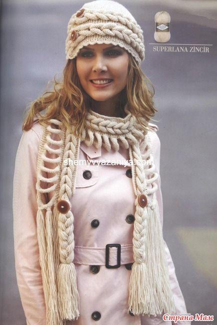 Шапка и шарф-коса - Страна Мам
