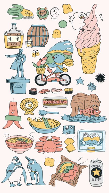 北海道旅行のために描いた栞のイラスト