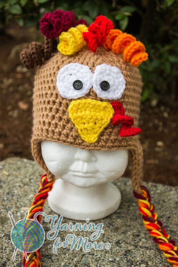 Crochet Turkey Hat by YarningforMore2011 on Etsy, $25.00