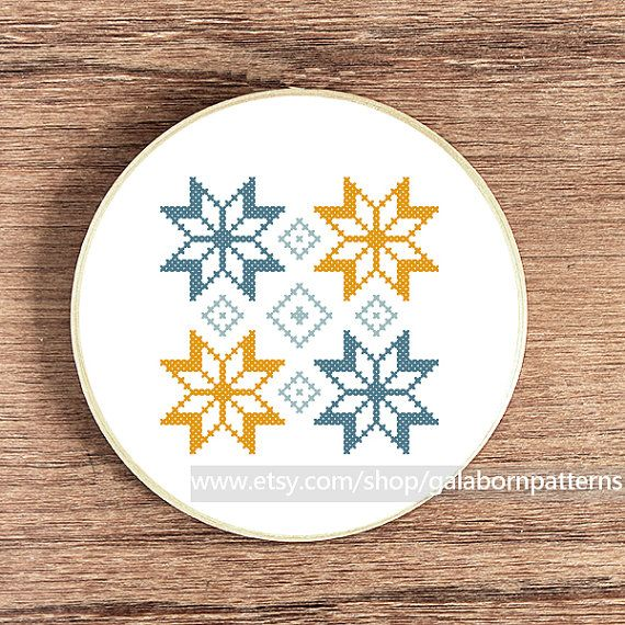 Scandinavian Summer ornament 2 - Counted cross stitch pattern PDF - Geometric - Tribal