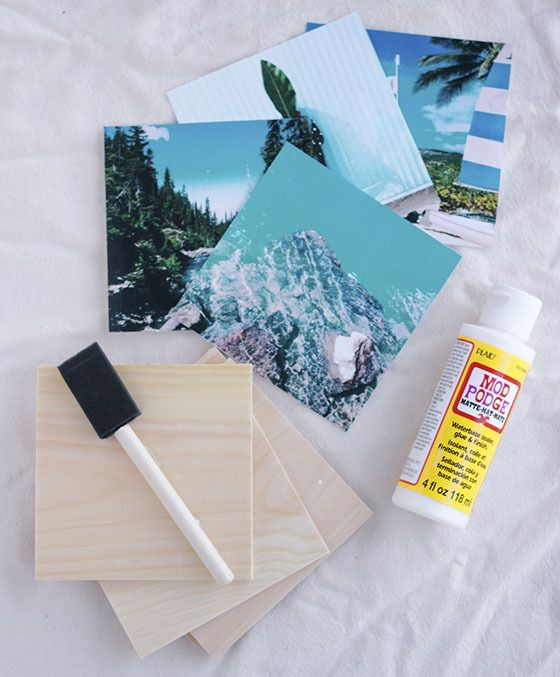 Instagram coasters DIY--also good for a whole-wall Instagram photo gallery or, on tile, I suppose it could become accent tiles for a backsplash.  (Don't know how well that'd stand up to constant washing, though).
