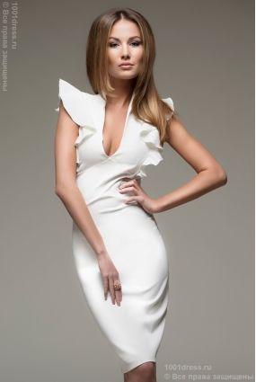 Серое платье-футляр с воланами на плечиках купить в интернет-магазине 1001DRESS