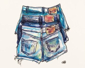 Vintage Cut Offs Original Watercolour by okdraw on Etsy