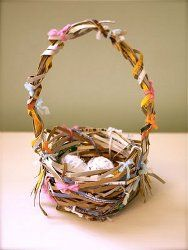 Recycled cereal box woven basket or nest or whatever . . .