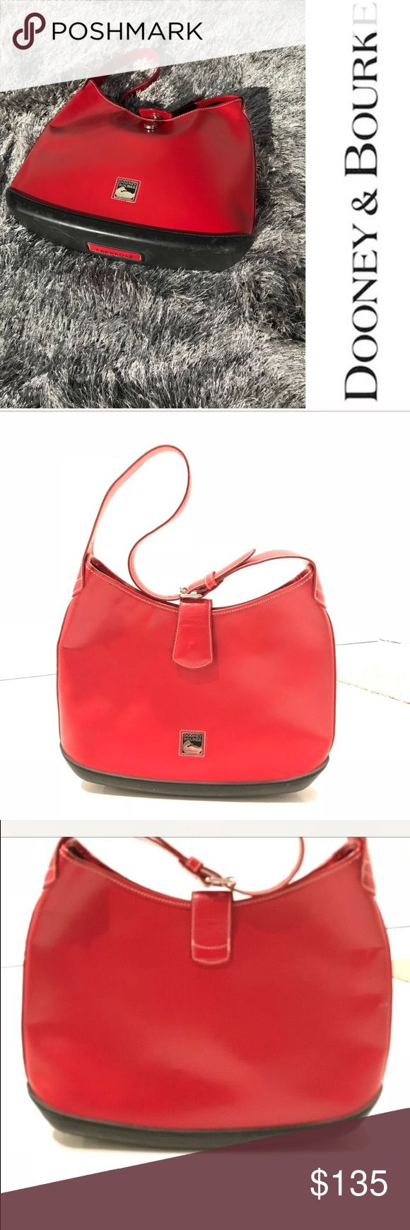 Red Dooney & Bourke handbag parasole Red dooney and Bourne parasole handbag  Almost flawless  I've shown the small dark marks on it and the tiny hole in the pictures   BUY 2 ITEMS GET 3rd HALF OFF , offering bundle discounts and accepting all reasonable offers Dooney & Bourke Bags Hobos
