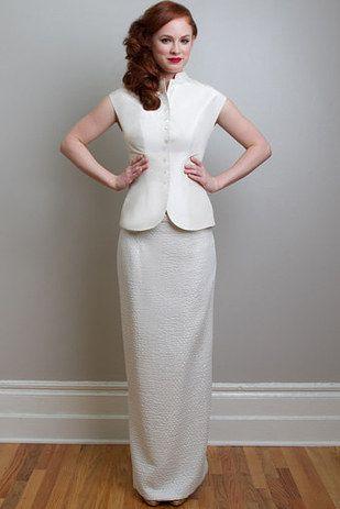 This Sleek Tailored Brocade Set Wedding SkirtStunning DressesWedding