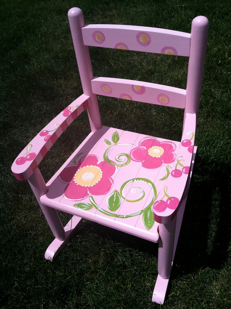 Flowers and Cherries Slat Rocking Chair