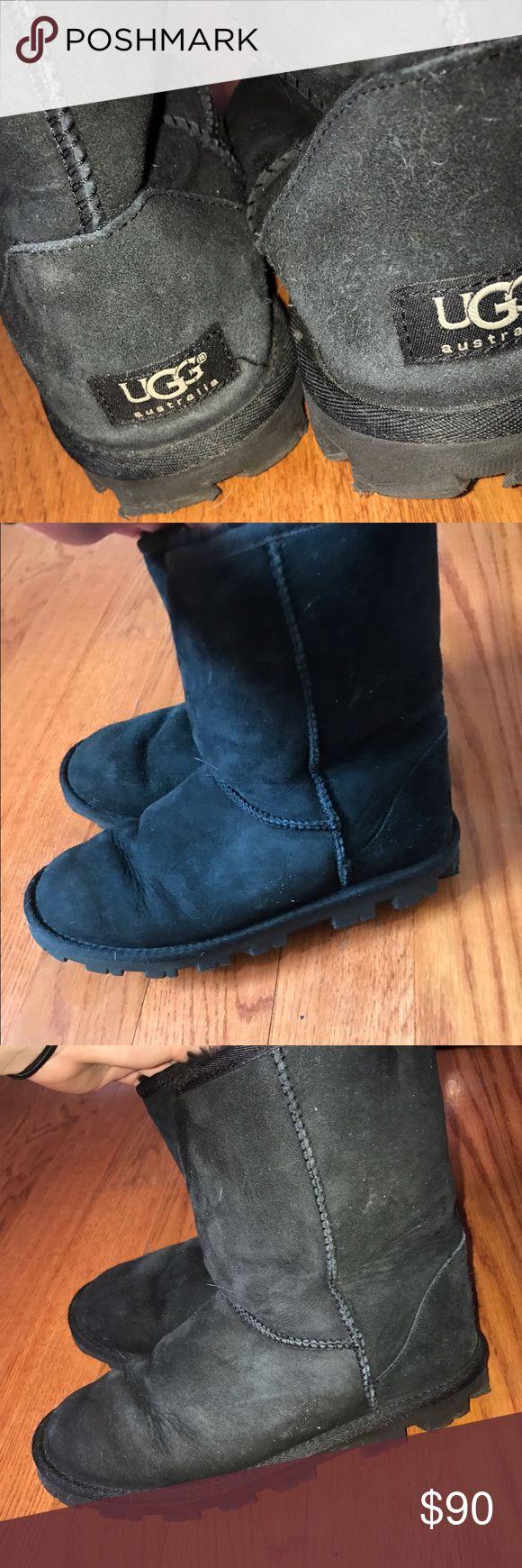 Black Short UGGS Black short UGGS, lightly worn with creasing, i accept offers! UGG Shoes Winter & Rain Boots