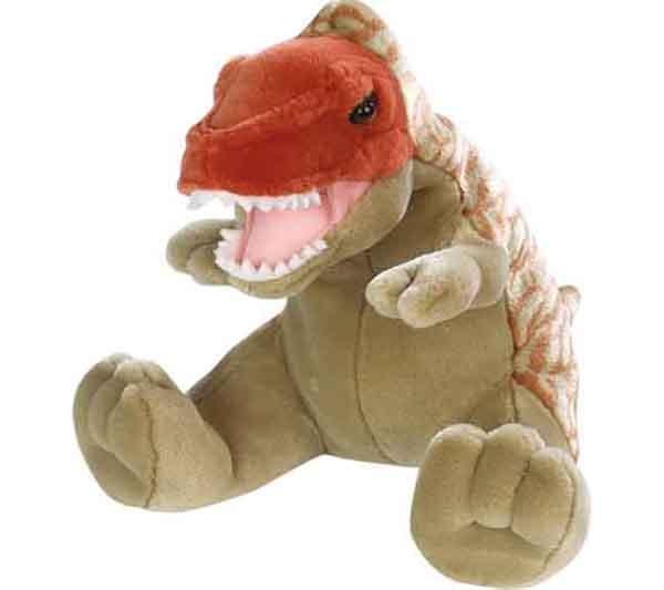 Tiranosaurio Rex de peluche - El tiranosaurio rex fue el más fiero de los dinosaurios ... pero este rex de peluche se convertirá en el mejor de los compañeros de juego de tu hijo !!! Material suave y de primera calidad para los más pequeños. Brillante colorido para despertar su imaginación. Medida: 30 cm  Edad: a partir de 2 años Marca: Wild Safari Ref. 30227 Precio: 18.00 € IVA incluido