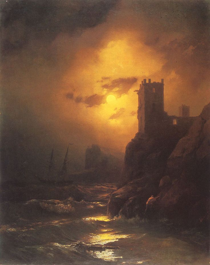 Ivan Konstantinovich Aivazovsky. Tower, Shipwreck, Date: 1847. Buy this painting as premium quality canvas art print from Modarty Art Gallery. #art, #canvas, #design, #painting, #print, #poster, #decoration