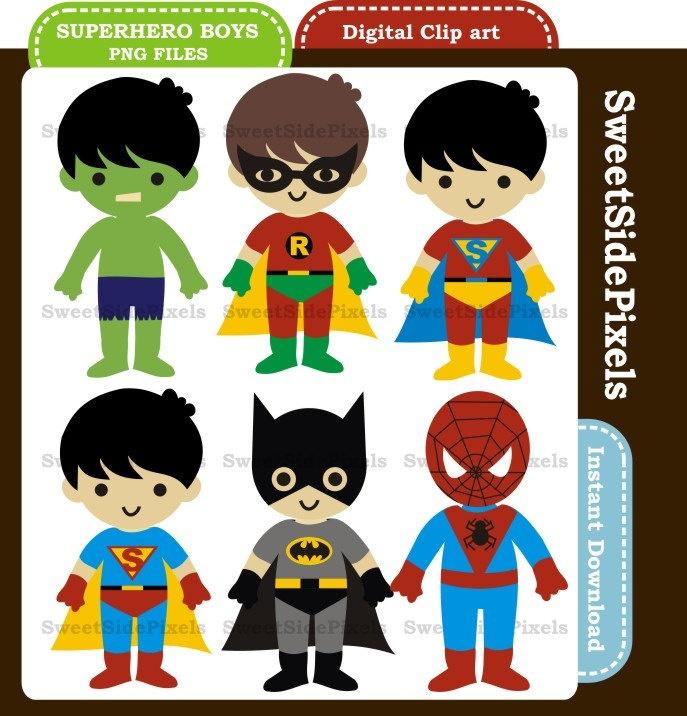 Superhero Boys - Digital Clip Art - Instant Download. $3.50, via Etsy.