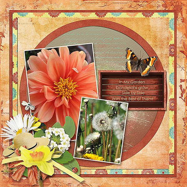 I created my page showcasing flowers from my garden,  with Garden Party by Manu Scraps. It  is a digital scrapbooking collection which comes in fresh spring colors; perfect for your family and gardening photos!
