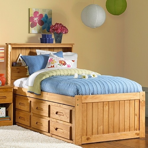 Explorer Ginger Bookcase Captains Bed Twin Size!  Made from real pine wood.  6 drawer storage or 3 drawer storage with a pull out trundle include in price.  You can also add another 6 drawers for the other side too.  $399