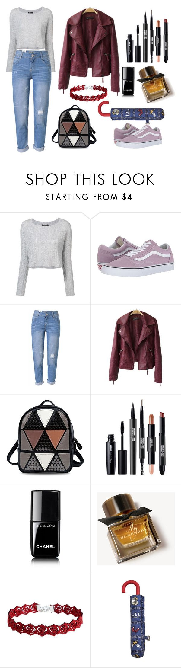"""""""Rain rain go away"""" by stefi-mh-96 ❤ liked on Polyvore featuring ThePerfext, Vans, WithChic, Chanel, Burberry and MANGO"""