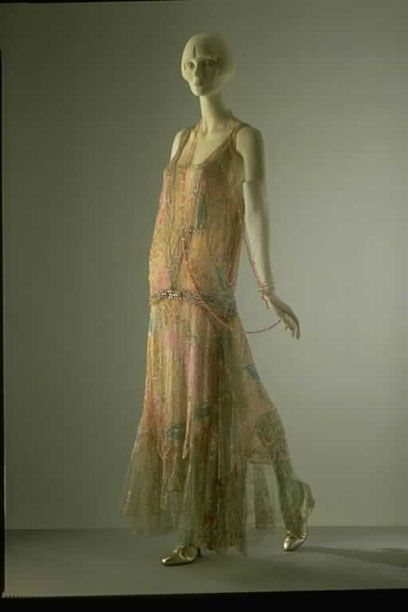 Evening dress  Callot Soeurs  About 1922  Paris  Printed silk voile, embroidered with sequins and beads, and trimmed with lace