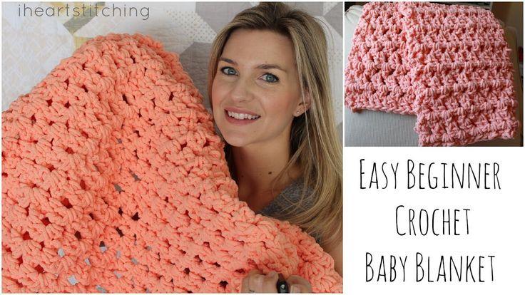 Easy Beginner Crochet Baby Blanket Tutorial P Hook Bernat Chenille 300g big ball yarn