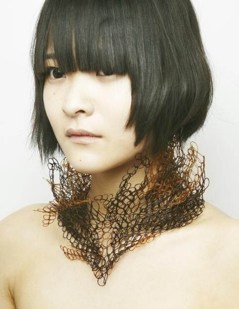 Hair Lace Necklace made using the designer's own hair - contemporary jewellery design; alternative materials // Maho Takahashi