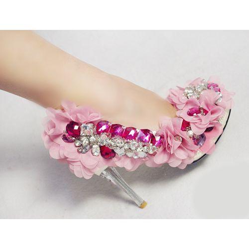 Handmade Custom Pink High Heel Wedding Bridal Evening Cocktail Shoes SKU-1090771