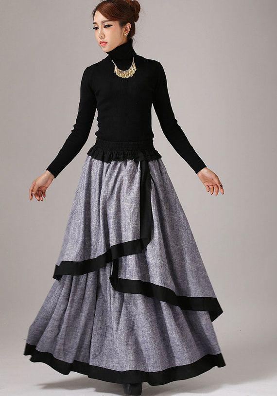 Gray long skirt linen maxi skirt layered skirt 771 от xiaolizi