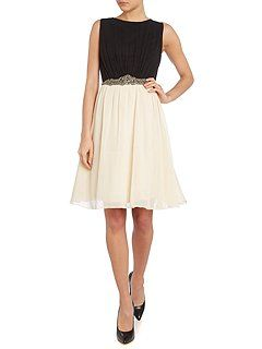 Sleeveless embellished waist fit and flare dress