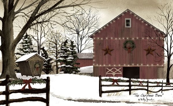 New Billy Jacobs Winter Snow Farm CHRISTMAS RED BARN Floor Mat Rug USA #MadeinUSA #Country