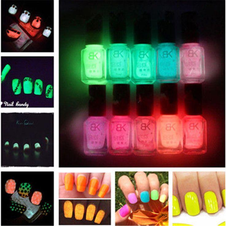7ml Candy Colors Fluorescent Neon Luminous Nail Art Polish Glow In Dark Varnish Nail Polish 10 Colors Popular