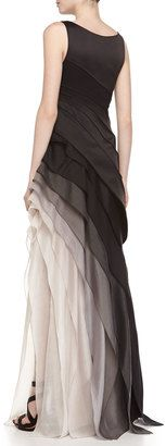 Halston Sleeveless Ombre Tiered Gown