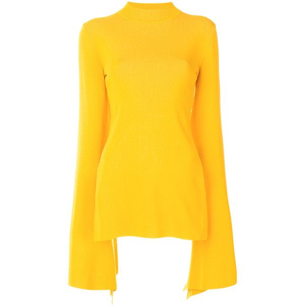 Solace London Adelia jumper ($369) ❤ liked on Polyvore featuring tops, sweaters, yellow, yellow sweater, jumpers sweaters, jumper tops, yellow top and yellow jumper