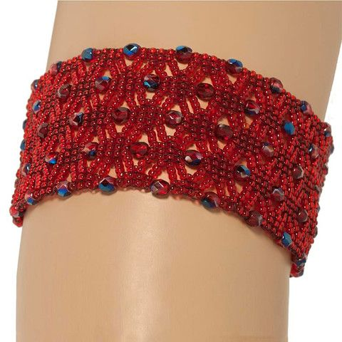 Handmade Red Black Glittering Beaded Macrame Bracelet