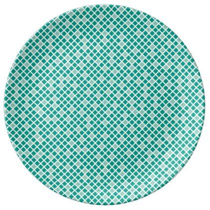 Diamonds  Arcadia Teal Dinner Plate - kitchen gifts diy ideas decor special unique individual customized