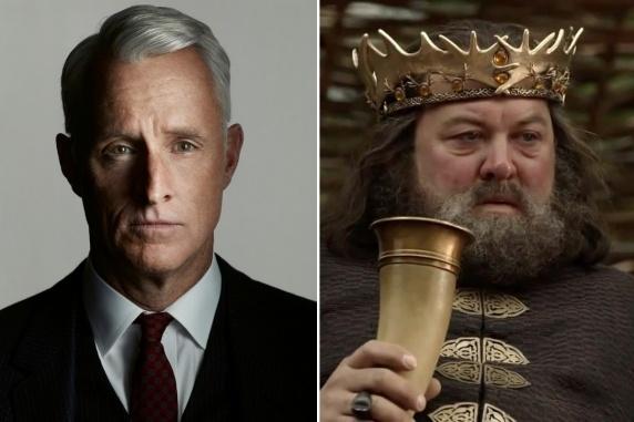 Roger Sterling (John Slattery) and King Robert Baratheon (Mark Addy)