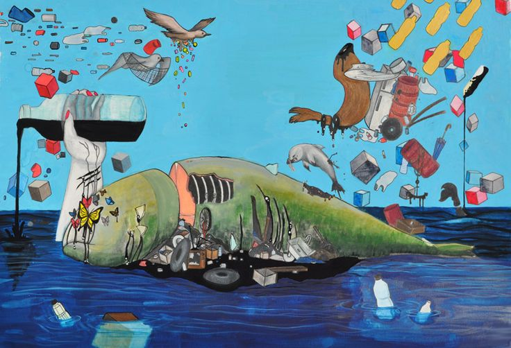 """""""The War at Sea"""" by Tiffany R., Honorable Mention Award Winner (Middle School) in the 2016 Ocean Awareness Student Contest #art #surrealism #pollution #marinedebris"""