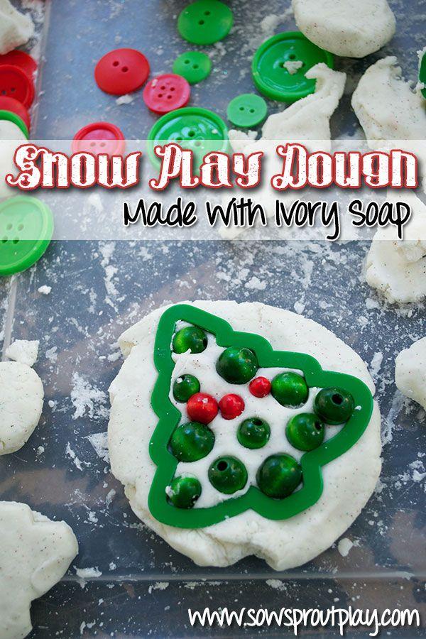 Snow Play Dough Made with Ivory Soap, flour and cornflour!