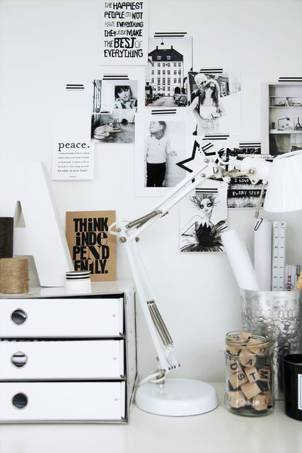 black & white collage wall