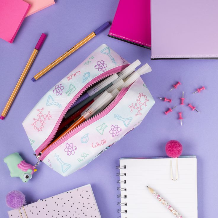 Unicorn pencil case for girls. Unique school accessory with cute eye popping keyring. Brilliant back to school, Birthday or Christmas gift for kids.
