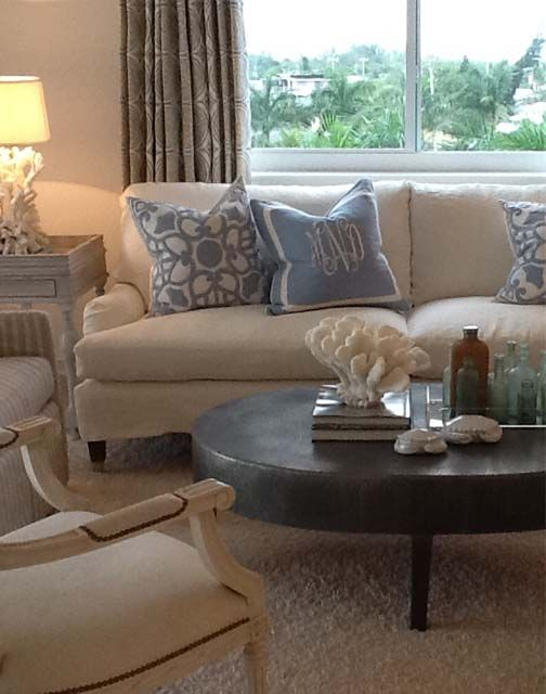 lisa luby ryan: Before After, Beaches Condos, Blue Pillows, Living Room, Apartment Inspiration, Sofas Coffee Table Pillows, Beautiful Rooms, Monograms Pillows, Coastal Decor