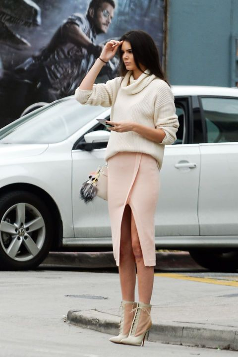 Nude, pink-peach outfit.