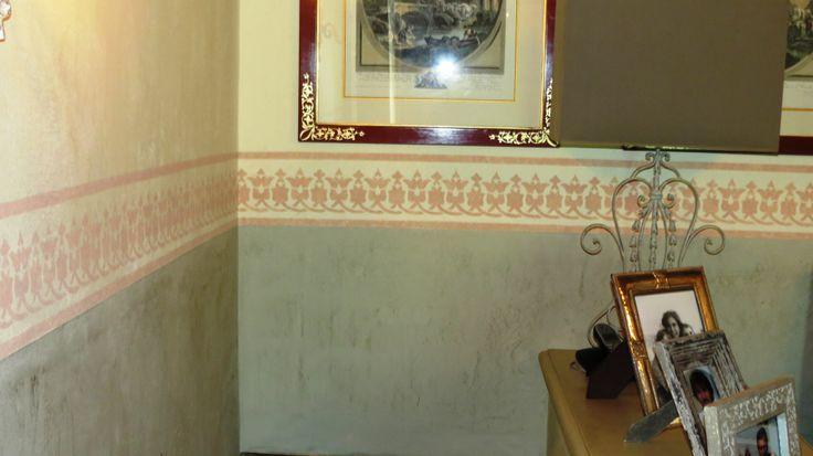grassello a pennello opaco in due colori e stencil
