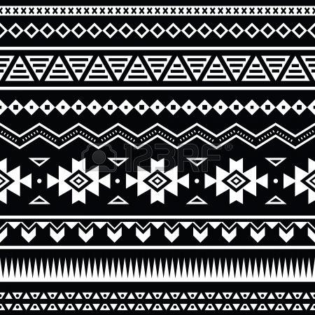 Aztec seamless, fond noir et blanc tribal Banque d'images