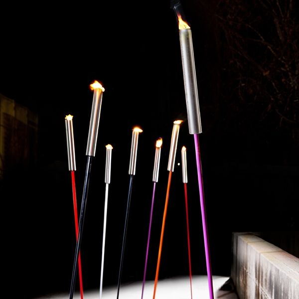Used for exterior, Zava Luce Floor Fire Torch features a metal stem painted in catalogue colours and an upper part in satin finish steel. The floor torch is using 100% vegetable oil in its citronella torches that lasts for approximately 6 hours, perfect for creating ambiance at a party. http://www.williedugganlighting.com/shop/zava-luce-floor-fire-torch?path=18_72