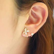 2016 New arrival high quality fashion butterfly design 925 sterling silver ladies`stud earrings jewelry Christmas gift(China (Mainland))