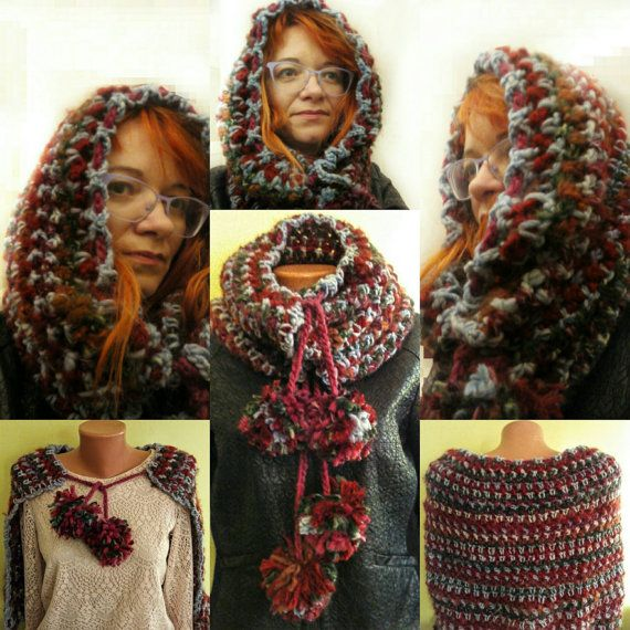 Hooded scarf Warm scarf crochet cowl crochet by ButiculColorat