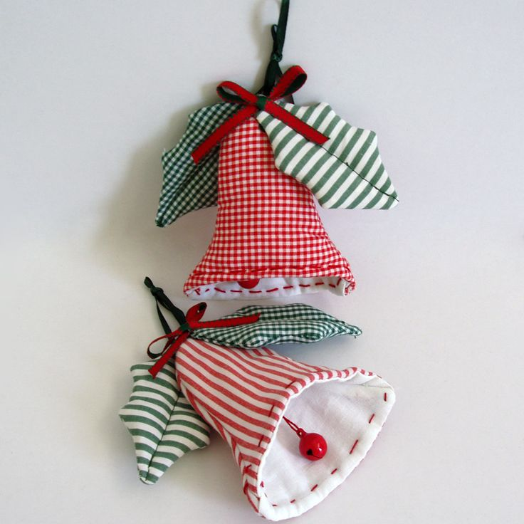 Fabric, hanging, christmas bells with decorative mistletoes in plaid and stripy green, clapper with little bells.