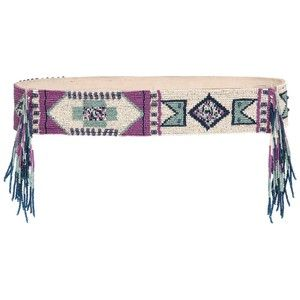 ETRO Beaded Leather High Waist Belt - Beige/Blue
