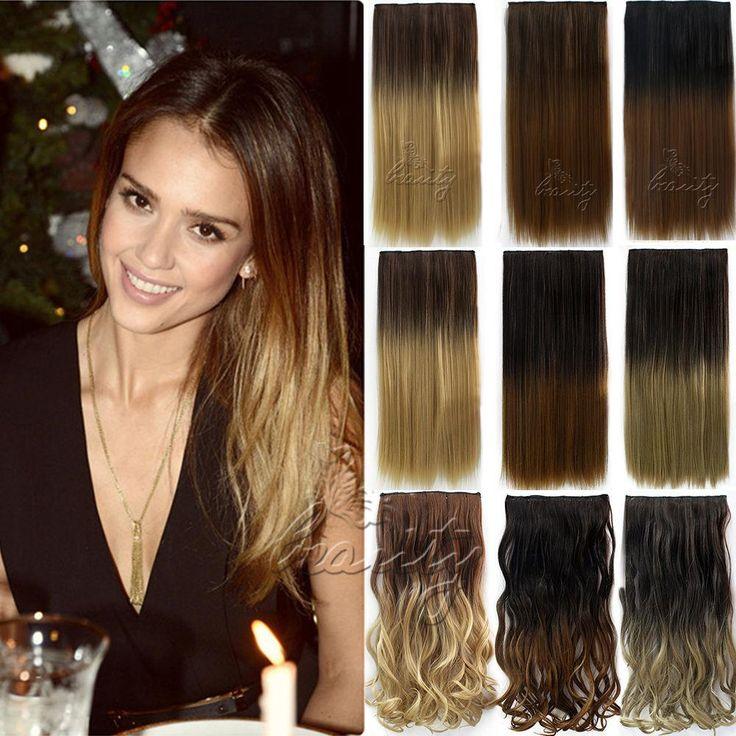 """Women'Fashion Clip In Haarverlenging 24 """"5 Clips Rechte Synthetische Haarstukjes Ombre Gekleurde Cheveux Extension 2 stijlen B40"""