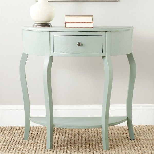 Safavieh Jan Demilune Console Table (Grey) ($350) ❤ liked on Polyvore featuring home, furniture, tables, accent tables, grey, semi circle table, half moon console table, demilune console table, half moon accent table and half round table