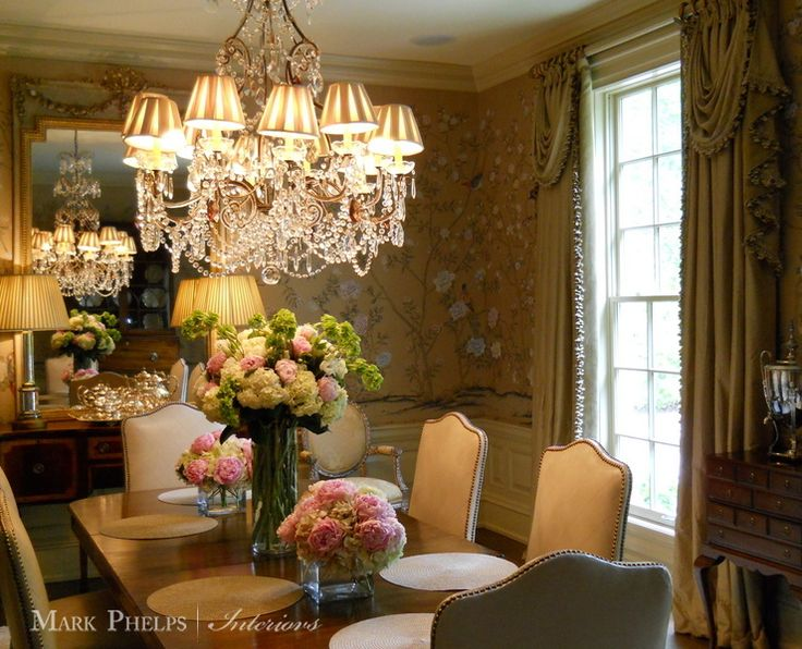Hand Painted Wallpaper Mark Phelps Interiors Charlotte NC MarkPhelpsInteriors WallpaperDraperyCharlotteDining RoomsHand